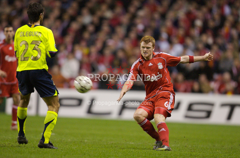 Liverpool, England - Tuesday, March 6, 2007: Liverpool's John Arne Riise and FC Barcelona's Oleguer Presas during the UEFA Champions League First Knockout Round 2nd Leg at Anfield. (Pic by David Rawcliffe/Propaganda)
