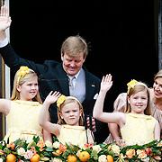 NLD/Amsterdam/20130430 - Inhuldiging Koning Willem - Alexander, balkonscene, Koning Willem - Alexander, Koninging Maxima, prinses Amalia, prinses Ariane, prinses Alexia