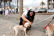 A woman holds her dog on a lead. Many of the tourists dress strangely in quirky outfits on the streets. Like this woman: decorated with rabbit ears.
