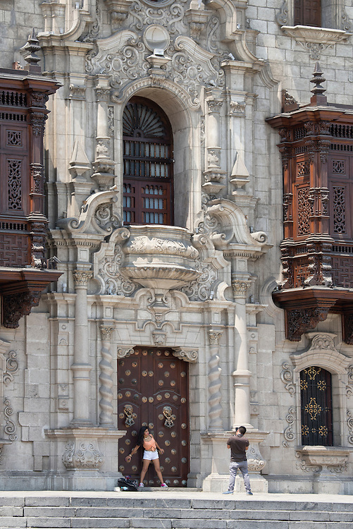 South America, Peru, Lima,The Plaza Mayor or Plaza de Armas of Lima,Archbishop's Palace of Lima