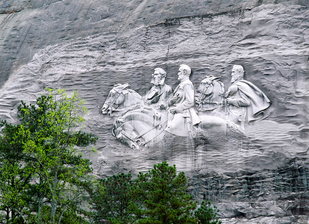 Confederate leaders generals Davis, Lee and Jackson. Quartz rock face carving. Stone Mountain Park, Atlanta, Georgia, USA