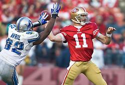 Dec 27, 2009; San Francisco, CA, USA;  Detroit Lions defensive end Cliff Avril (92) puts pressure on San Francisco 49ers quarterback Alex Smith (11) during the fourth quarter at Candlestick Park. San Francisco defeated Detroit 20-6.