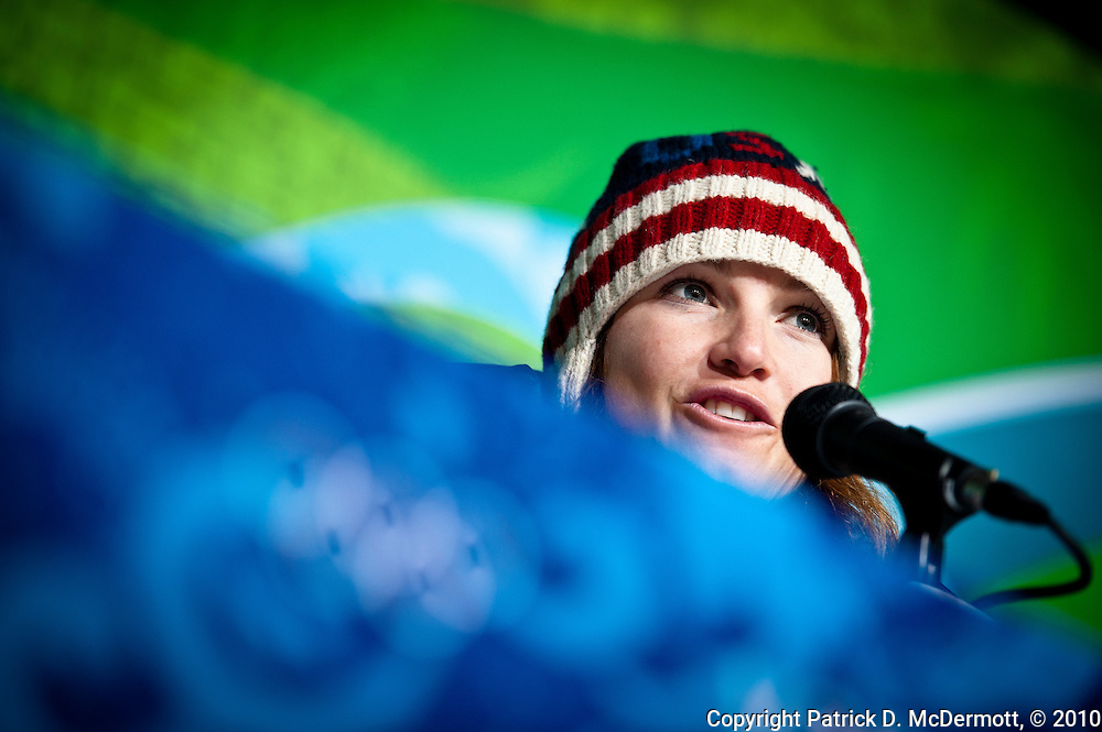 Julia Mancuso of the United States speaks at press conference after winning the silver medal in the Women's Downhill at the 2010 Vancouver Winter Olympics in Whistler, Canada, on Feb. 17, 2010.