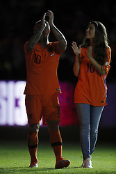 (L-R) Wesley Sneijder of Holland, Yolanthe Sneijder-Cabau, during the International friendly match match between The Netherlands and Peru at the Johan Cruijff Arena on September 06, 2018 in Amsterdam, The Netherlands