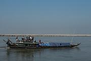 Boat on Brahmaputra River<br /> Assam<br /> North East India<br /> UNESCO World Heritage Site