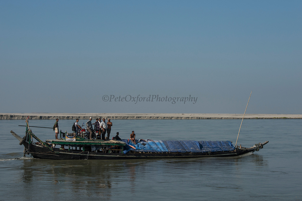 Boat on Brahmaputra River<br /> Assam<br /> North East India<br /> UNESCO World Heritage Site