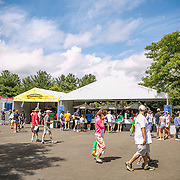 August 21, 2016, New Haven, Connecticut: <br /> Fans enjoy lunch in the food court during Day 3 of the 2016 Connecticut Open at the Yale University Tennis Center on Sunday, August  21, 2016 in New Haven, Connecticut. <br /> (Photo by Billie Weiss/Connecticut Open)