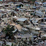 General view of destruction of hillside areas following Haiti's devastating earthquake.