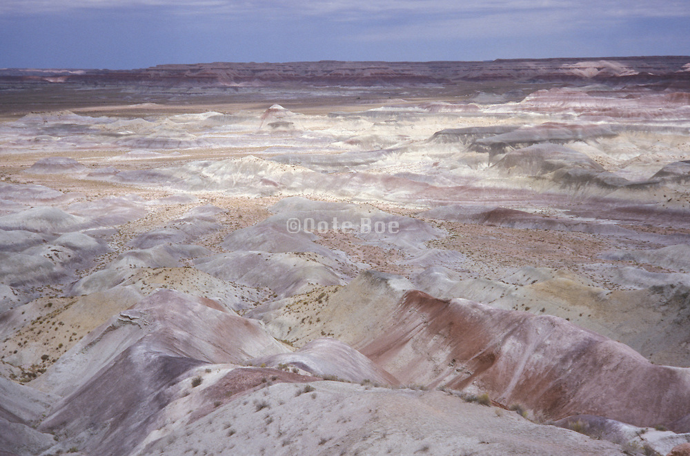 overhead view of shadowy canyon of Painted Desert