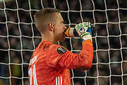 Karl-Johan Johnsson of FC Copenhagen takes a drink as he awaits the decision of VAR during the Europa League match between Celtic and FC Copenhagen at Celtic Park, Glasgow, Scotland on 27 February 2020.
