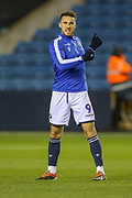 Millwall forward Lee Gregory (9) warms up during the EFL Sky Bet Championship match between Millwall and Birmingham City at The Den, London, England on 28 November 2018.