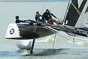 Emirates Team New Zealand. Day three of the Extreme Sailing Series regatta being sailed in Singapore. 22/2/2014