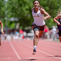Rama Mustang Taea Hill dives across the finish line to win the 100 meter dash in the New Mexico State track and field meet in Albuquerque Saturday.