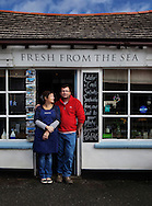 Calum and his wife Tracey, who own and run the 'Fresh from the Sea' Fish Shop in Port Isaac, Cornwall, U.K.<br /> <br /> &quot;The only reason I'm still fishing is because of the shop. I love to go fishing but I couldn't justify running at a loss. Sometimes the boat does alright but the shop always does better.&quot;<br /> <br /> Calum Greenhalgh.<br /> <br /> (See 'People, Place &amp; Fish' gallery)