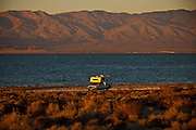 Camper along the coast of the Salton Sea Imperial Valley, CA.