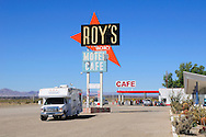 Roadbear RV Camper at Roy's Motel & Cafe, Amboy, old Route 66, California, USA