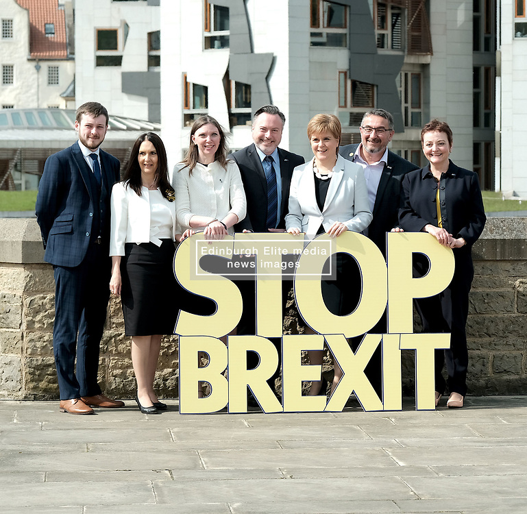 SNP launch European election campaign. Leader Nicola Sturgeon joined the party's six candidates.<br /> <br /> The candidates are Margaret Ferrier, Christian Allard, Alyn Smith, Aileen McLeod, Heather Anderson and Alex Kerr.<br /> <br /> Pictured: (left to right) Alex Kerr, Margaret Ferrier, Aileen McLeod, Alyn Smith, Nicola Sturgeon, Christian Allard, and Heather Anderson.<br /> <br /> Alex Todd | Edinburgh Elite media