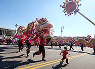Dragon dancers perform during the 119th annual Chinese New Year &quot;Golden Dragon Parade&quot; in the streets of Chinatown in Los Angeles, the United States, Saturday Feburary 17, 2018. (Xinhua/Zhao Hanrong)<br /> 2月17日,在美国洛杉矶,一支舞龙队伍在游行队伍里表演。当日,第119届金龙大游行在洛杉矶举行,庆祝中国农历新年。 (Photo by Ringo Chiu)<br /> <br /> Usage Notes: This content is intended for editorial use only. For other uses, additional clearances may be required.