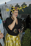Immodesty Blaize, Stephen Jones Summer Hat party to celebrate 25 years of Milllinery. Debenham House, 8 Addison Rd. Holland Park, London. 13 July 2006.  ONE TIME USE ONLY - DO NOT ARCHIVE  © Copyright Photograph by Dafydd Jones 66 Stockwell Park Rd. London SW9 0DA Tel 020 7733 0108 www.dafjones.com