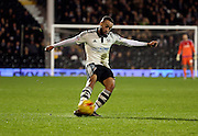 Fulham defender Ashley (Jazz) Richards with a shot on goal during the Sky Bet Championship match between Fulham and Ipswich Town at Craven Cottage, London, England on 15 December 2015. Photo by Matthew Redman.