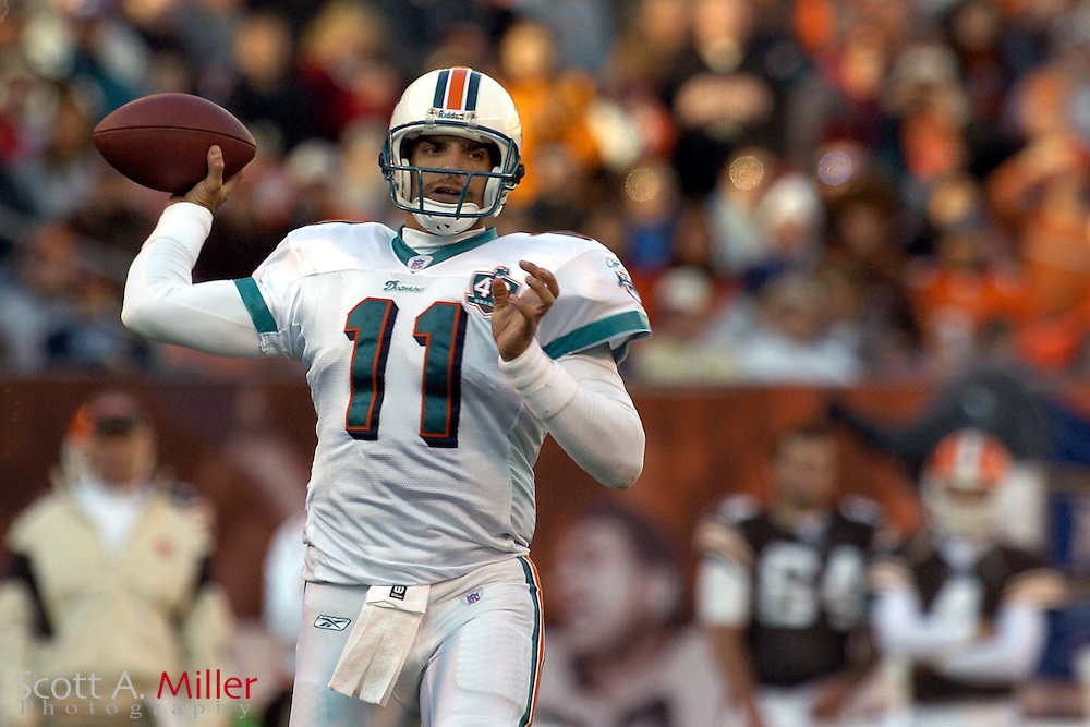 Miami Dolphins quarterback Gus Frerotte in action during the Dolphins game against the Cleveland Browns at Cleveland Browns Stadium on Nov. 20, 2005 in Cleveland, Ohio.        ..©2005 Scott A. Miller