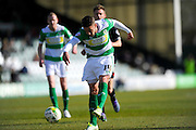 Yeovil Town's Jack Compton has a shot at goal during the Sky Bet League 2 match between Yeovil Town and Carlisle United at Huish Park, Yeovil, England on 25 March 2016. Photo by Graham Hunt.