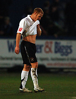 Photo: Paul Greenwood.<br />Macclesfield Town v Hereford United. Coca Cola League 2. 20/01/2007. Hereford's Simon Travis looks distraught at the final whistle
