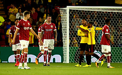 Aden Flint of Bristol City and his teammates cut dejected figures after conceding a goal to Etienne Capoue of Watford - Mandatory by-line: Robbie Stephenson/JMP - 22/08/2017 - FOOTBALL - Vicarage Road - Watford, England - Watford v Bristol City - Carabao Cup