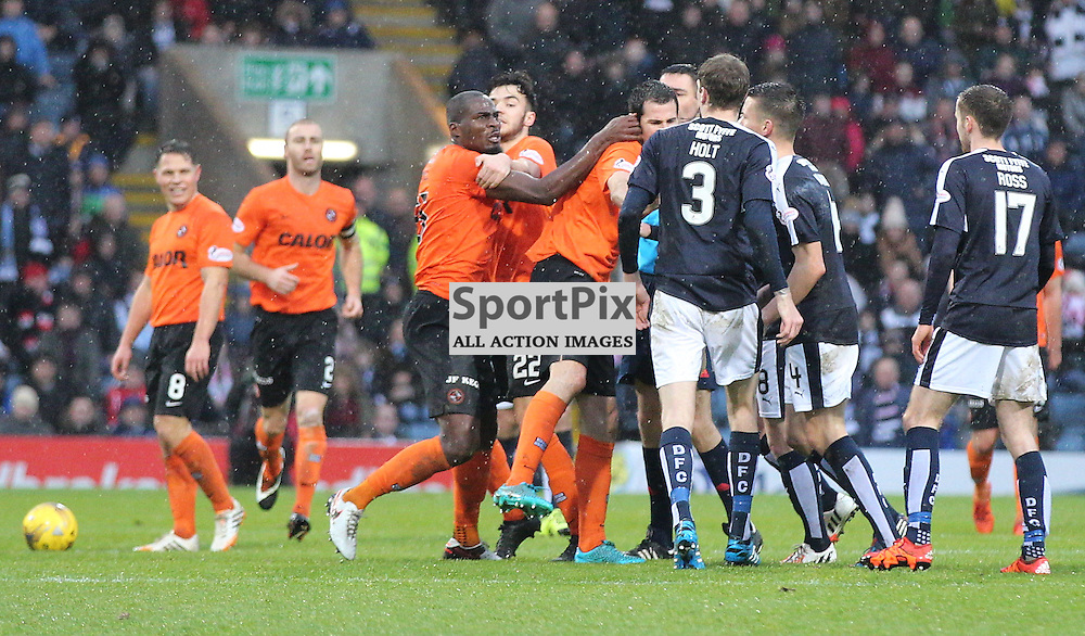 Dundee v Dundee United Scottish Premiership 2 January 2016; Guy Demel (Dundee United, 55) gets involved in a scuffle which leads to his first yellow card during the Dundee v Dundee United Scottish Premiership match played at Dens Park Stadium;