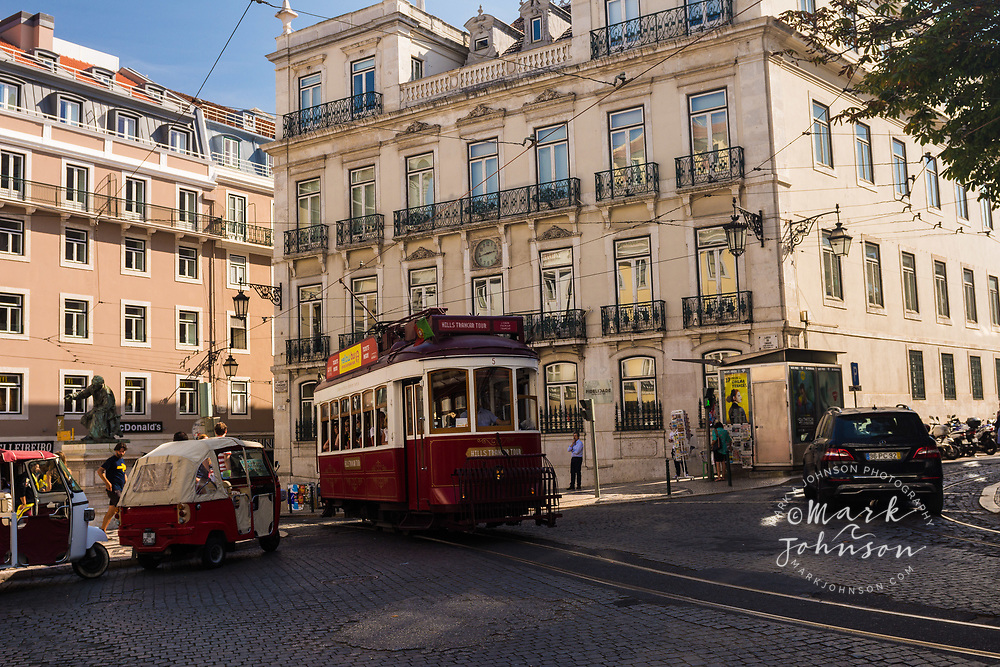 Tram on the streets of Lisbon, Portugal