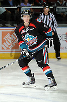 KELOWNA, CANADA, OCTOBER 11: Damon Severson #7 of the Kelowna Rockets skates on the ice  as the Medicine Hat Tigers visited the Kelowna Rockets on October 11, 2011 at Prospera Place in Kelowna, British Columbia, Canada (Photo by Marissa Baecker/shootthebreeze.ca) *** Local Caption *** Damon Severson;