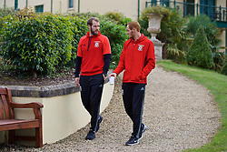 CARDIFF, WALES - Friday, October 7, 2016: Wales' goalkeeper Owain Fon Williams and Shaun MacDonald during a team walk at the Vale Resort ahead of the 2018 FIFA World Cup Qualifying Group D match against Georgia. (Pic by David Rawcliffe/Propaganda)