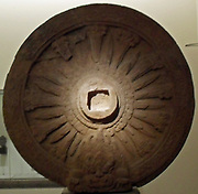 Wheel of Law 'dharmacakra. Wheel symbolizing the doctrine in Buddhism. it refers to the first prediction of the Buddha in the Deer Park of Sarnath, near Varanasi. 8th century, 9th century stone sculpture from Phra Pathom Temple, Thailand