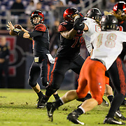 10 November 2018: San Diego State Aztecs quarterback Ryan Agnew (9) drops back to pass in the fourth quarter. The Aztecs lost 27-24 to UNLV Saturday night at SDCCU Stadium falling a game behind Fresno State in the conference standings.