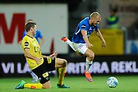 Fotball , Eliteserien 2018<br /> 05.08.2018 , 20180805<br /> Lillestrøm - Molde <br /> Moldes Eirik Hestad felles av Lillestrøms Frode Kippe <br /> Foto: Sjur Stølen / Digitalsport