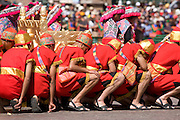 "The Sapa Inca litter bearers with the golden throne. Inti Raymi ""Festival of the Sun"", Plaza de Armas, Cusco, Peru."
