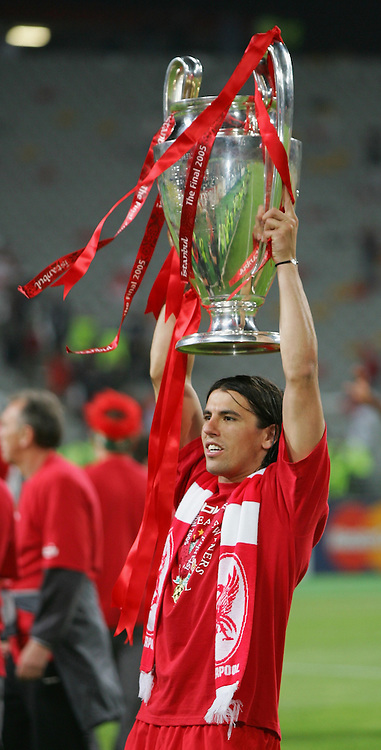 ISTANBUL, TURKEY - WEDNESDAY, MAY 25th, 2005: Liverpool Milan Baros celebrates winning the European Cup after beating AC Milan on penalties during the UEFA Champions League Final at the Ataturk Olympic Stadium, Istanbul. (Pic by David Rawcliffe/Propaganda)