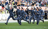 Army cadets run back to their side of the field after being released in the annual prisoner exchange before the Army Navy football game at Lincoln Financial Field in Philadelphia, PA on December 12, 2015. (Alan Lessig/Staff)