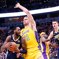 09 March 2018: Los Angeles Lakers center Brook Lopez (11) defends on Denver Nuggets forward Will Barton (5) during the Denver Nuggets125-116 victory over the Los Angeles Lakers, at the Pepsi Center, Denver, Colorado, USA.