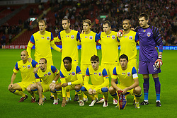 LIVERPOOL, ENGLAND - Thursday, September 16, 2010: FC Steaua Bucuresti's players line-up for a team group photograph before the opening UEFA Europa League Group K match against Liverpool at Anfield. (Photo by David Rawcliffe/Propaganda)