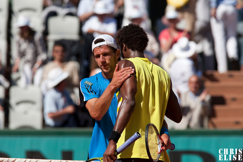 30 May 2009: Jurgen Melzer of Austria congratulates Gael Monfils during the Men's Singles third round match on day seven of the French Open at Roland Garros in Paris, France.