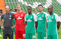 German Soccer Bundesliga 2015/16 - Photocall of Werder Bremen on 10 July 2015 in Bremen, Germany (l-r): coach Viktor Skripnik posing with the new signings goalie Felix Wiedwald, Ulisses Garcia, Florian Grillitsch and Anthony Ujah.