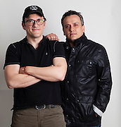 "Los Angeles, California: Portrait of writer/director brothers Anthony (glasses) and Joe (black jacket) Russo who have gone from indie film gigs to overseeing the new chapter of ""Captain America,"" 2/21/14  (Photo: Ann Summa)."