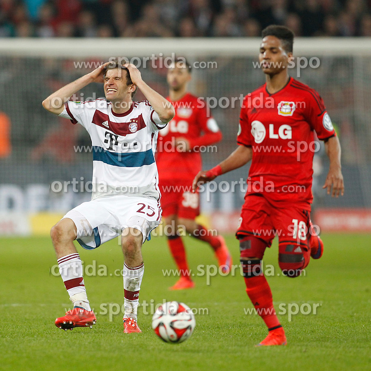 08.04.2015, BayArena, Leverkusen, GER, DFB Pokal, Bayer 04 Leverkusen vs FC Bayern Muenchen, Viertelfinale, im Bild Thomas Mueller (FC Bayern Muenchen #25) // during the German DFB Pokal quarter final match between Bayer 04 Leverkusen and FC Bayern Munich at the BayArena in Leverkusen, Germany on 2015/04/08. EXPA Pictures &copy; 2015, PhotoCredit: EXPA/ Eibner-Pressefoto/ Schueler<br /> <br /> *****ATTENTION - OUT of GER*****