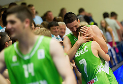 Klemen Prepelic of Slovenia and Alen Omic of Slovenia celebrate after winning the basketball match between National teams of Sweden and Slovenia in First Round of U20 Men European Championship Slovenia 2012, on July 13, 2012 in Domzale, Slovenia. Slovenia defeated Sweden 70-69. (Photo by Vid Ponikvar / Sportida.com)