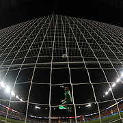 Goalkeeper Milan Borjan, Canada, tips a shot over the bar during the Colombia Vs Canada friendly international football match at Red Bull Arena, Harrison, New Jersey. USA. 14th October 2014. Photo Tim Clayton