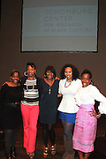 May 2, 2012- New York, United States- (L-R) Writer Akiba Solomon, Writer Nicole Moore, Kierna Mayo, Editorial Director, Digital, EBONY Magazine, Jamilah Lemieux, Digital Content Editor, Ebony.com and Writer Karen Goode pose onstage for a panelists photograph at the ' Nice with Hers ' Conversation moderated by Nicole Moore, of TheHotness.com in collaboration with Ebony.com held at the Schomburg Center on May 2, 2012 in the village of Harlem in New York City. Nicole Moore speaks with some of the fearless female journalists who wrote the narrative of how the world came to know hip hop, culture, fashion, and itself. (Photo by Terrence Jennings).