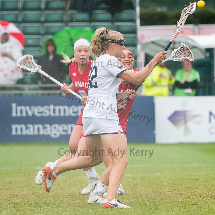Allyson Carey shoots for goal at the 2017 FIL Rathbones Women's Lacrosse World Cup at Surrey Sports Park, Guilford, Surrey, UK, 15th July 2017