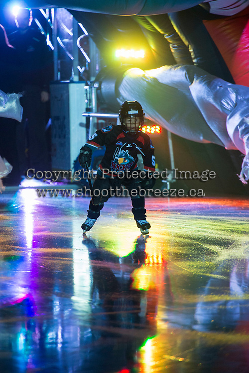 KELOWNA, CANADA - SEPTEMBER 22: Maximus Fogharty, the pepsi player of the game enters the ice as the Kelowna Rockets take on the Kamloops Blazers on September 22, 2017 at Prospera Place in Kelowna, British Columbia, Canada.  (Photo by Marissa Baecker/Shoot the Breeze)  *** Local Caption ***