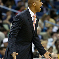 April 1, 2011; New Orleans, LA, USA; New Orleans Hornets head coach Monty Williams argues a call during the second quarter against the Memphis Grizzlies at the New Orleans Arena.    Mandatory Credit: Derick E. Hingle